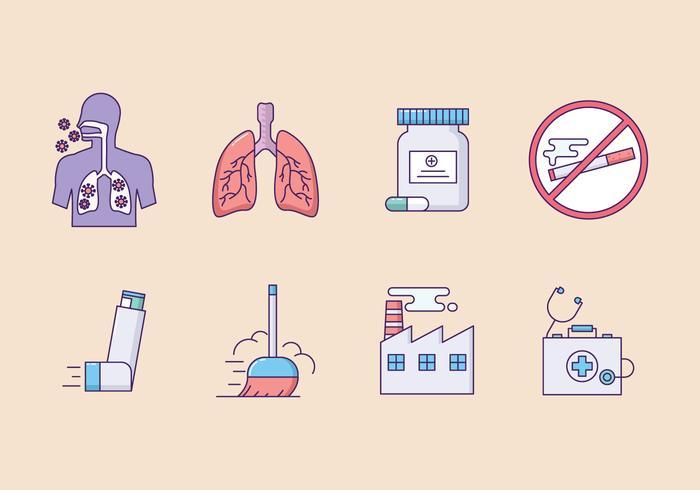 Astmasymptom Ikonuppsättning