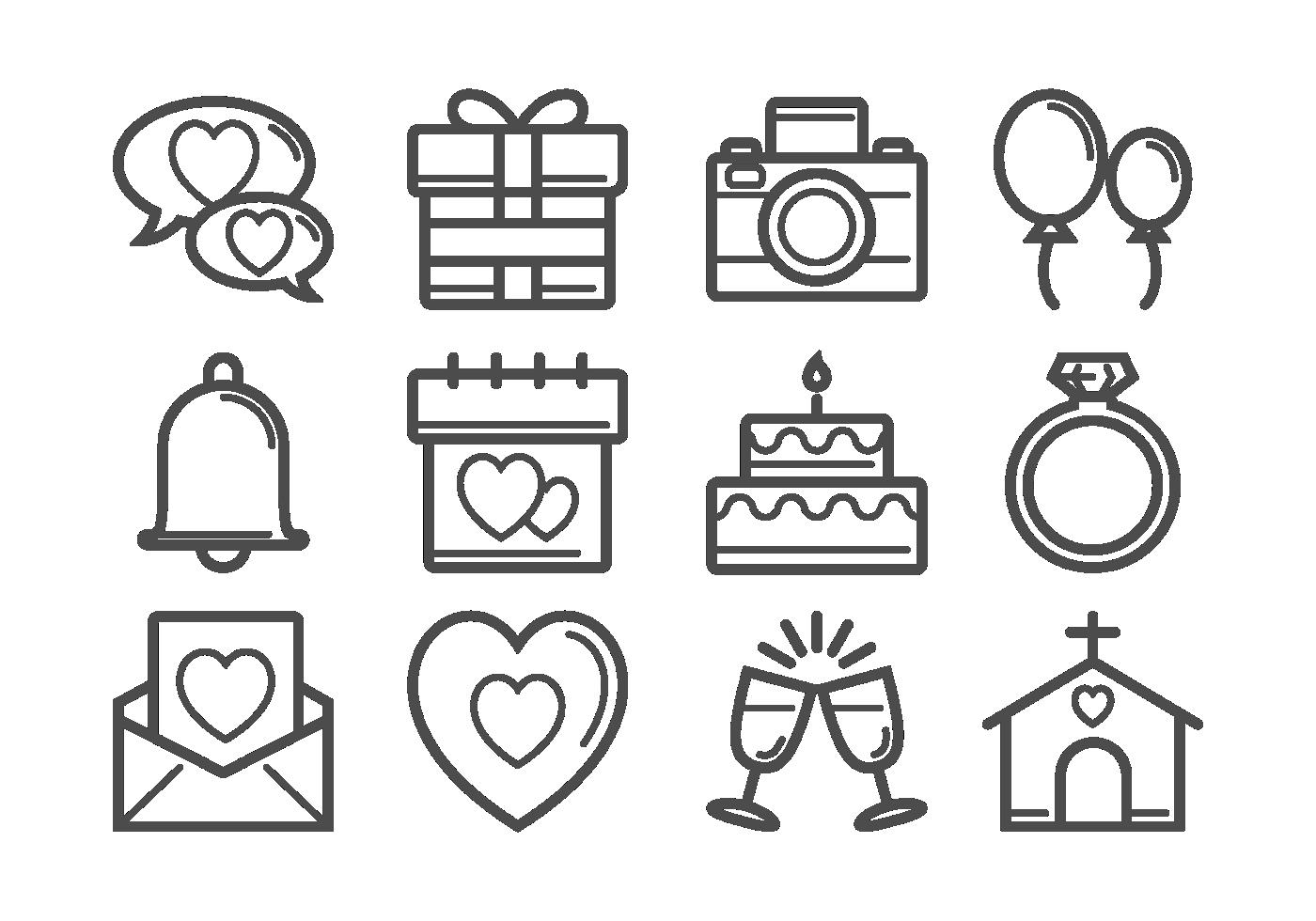 Line Art Icons Free : Boda delgadas iconos de líneas descargue gráficos y