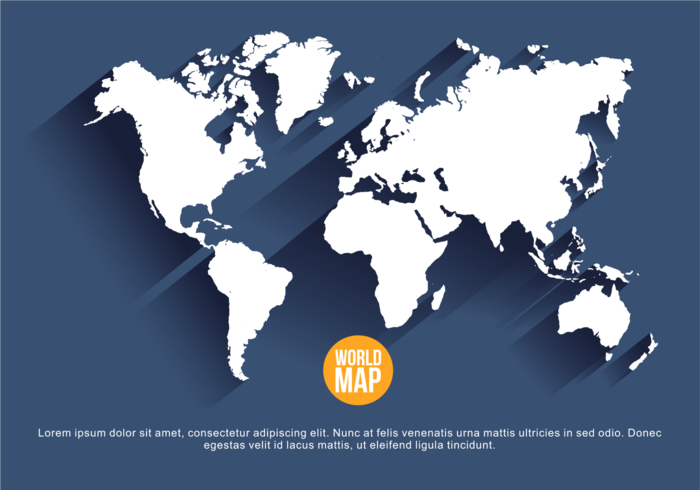 Navy Blue Mapa Mundi Vector Illustration