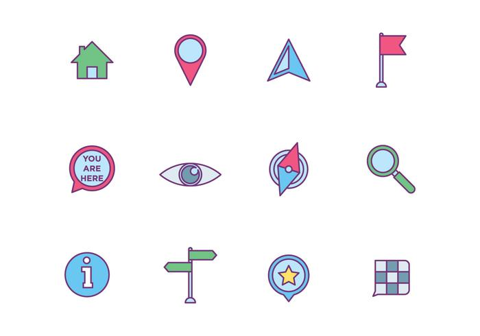 Map Element Icons on White Background