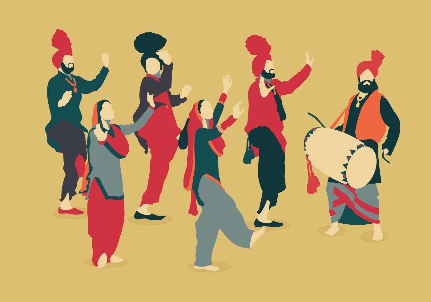 Bhangra Vintage Color Dancer Vectors - Download Free ...