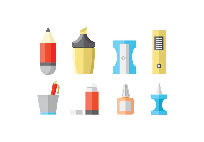 Flat Stationery and Office Supply Icons