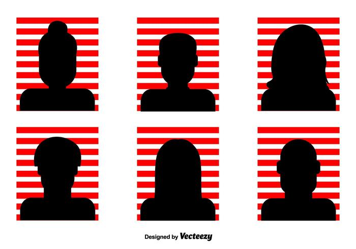 Red Striped Headshot Vector Icons