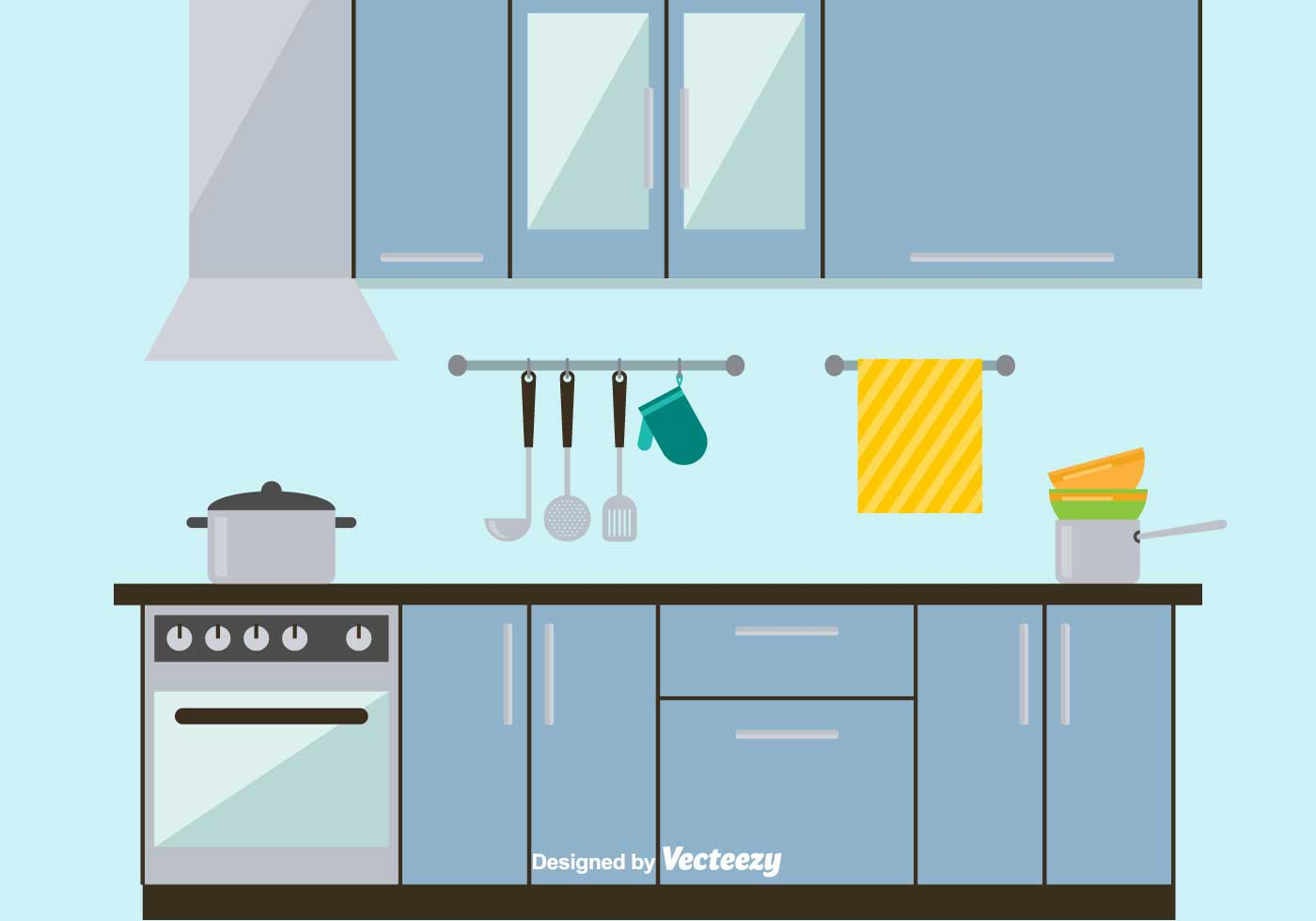 Sleek and Modern Kitchen Vector Illustration - Download Free Vector ...