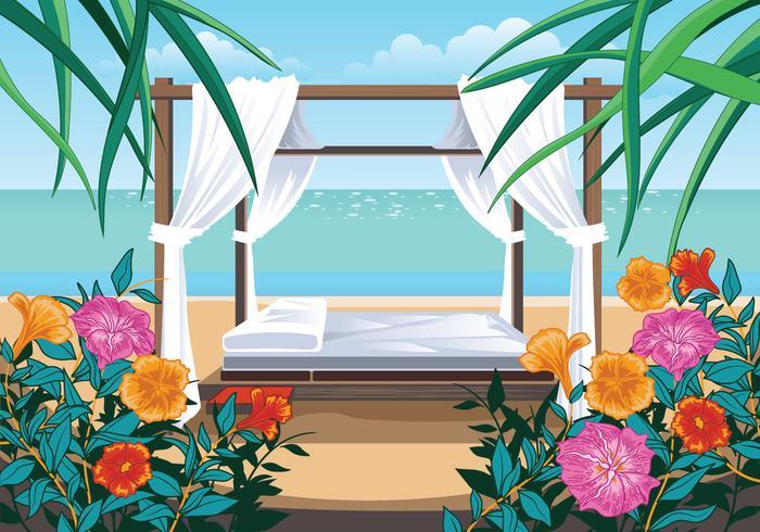 Una hermosa playa y cabaña