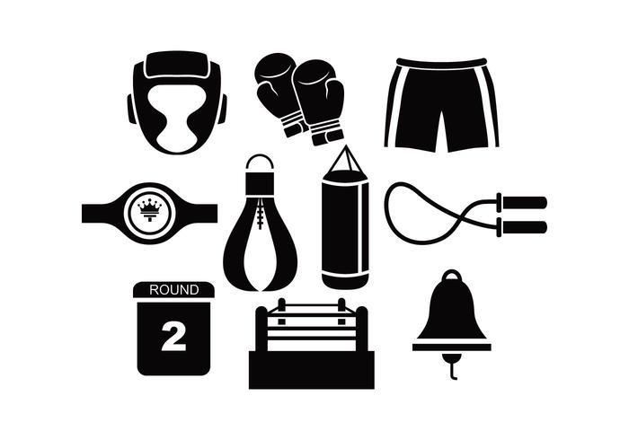 Black Silhouette Boxing Vectors