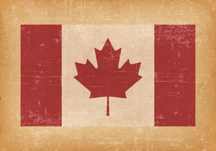 Bandera canadiense en el fondo de Grunge