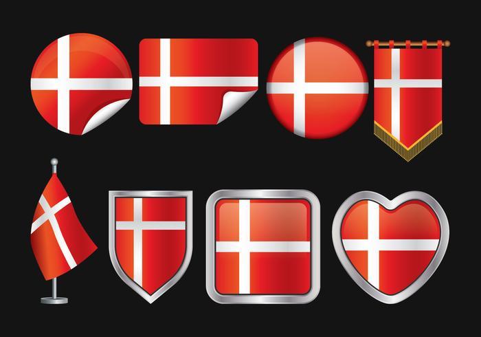 Danish Flag Vector Pack