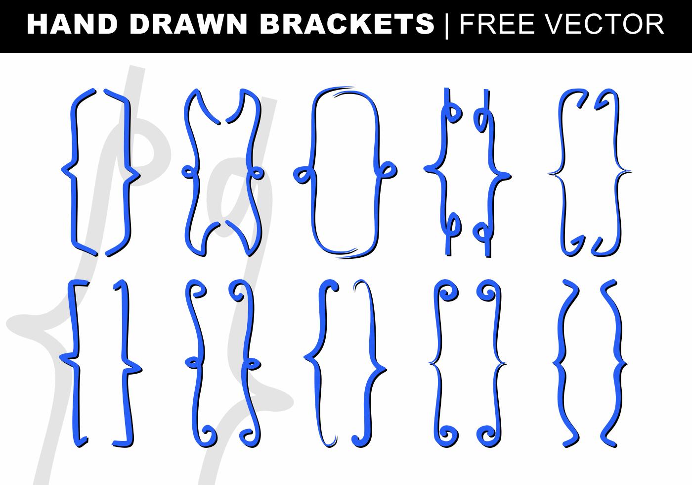 Hand Drawn Brackets Free Vector - Download Free Vectors ...