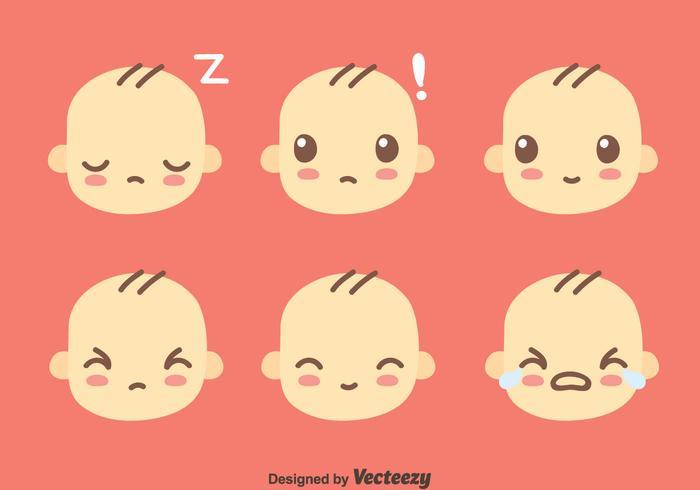 Cute Baby Face Collection Vector