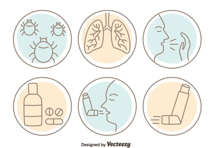 Vectores del icono del asma