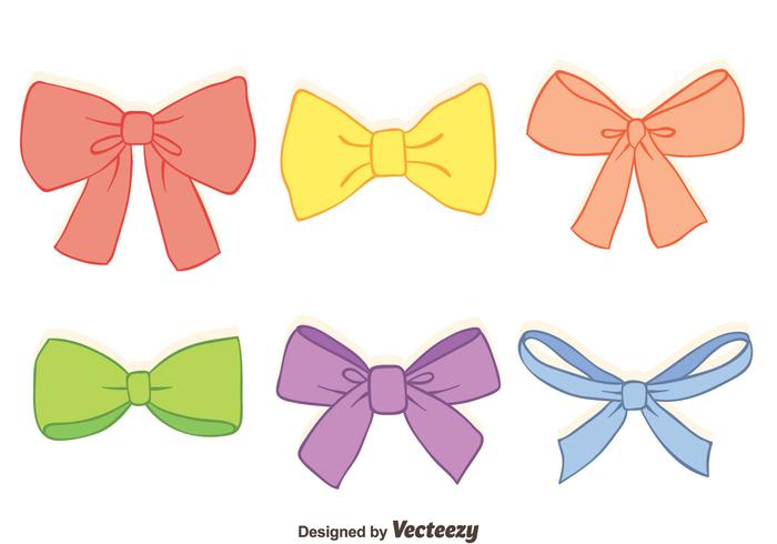 Hand Drawn Colorful Hair Ribbon Vectors