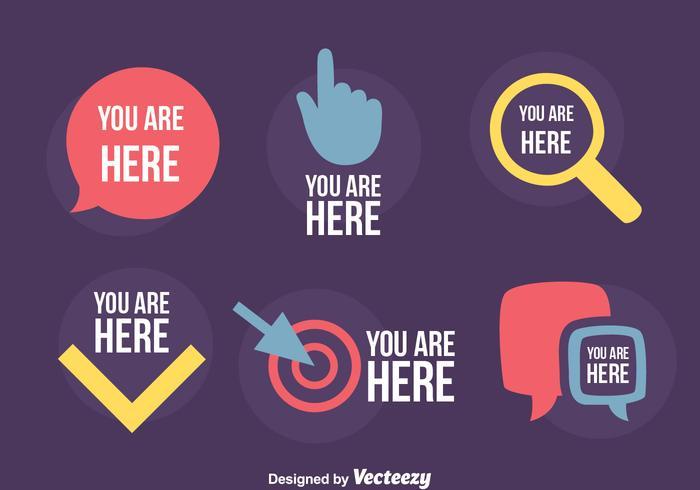 Mapa Plano Con Pin Icono De Puntero De La: Usted Está Aquí Signo Vector