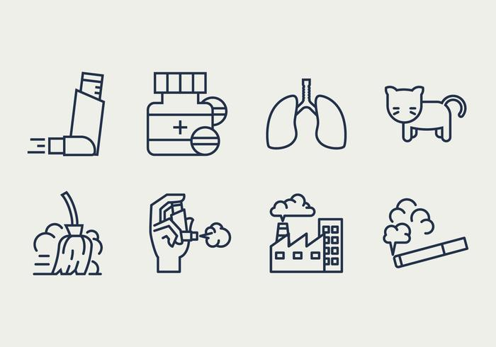 Asthma Symptoms and Causes Icons