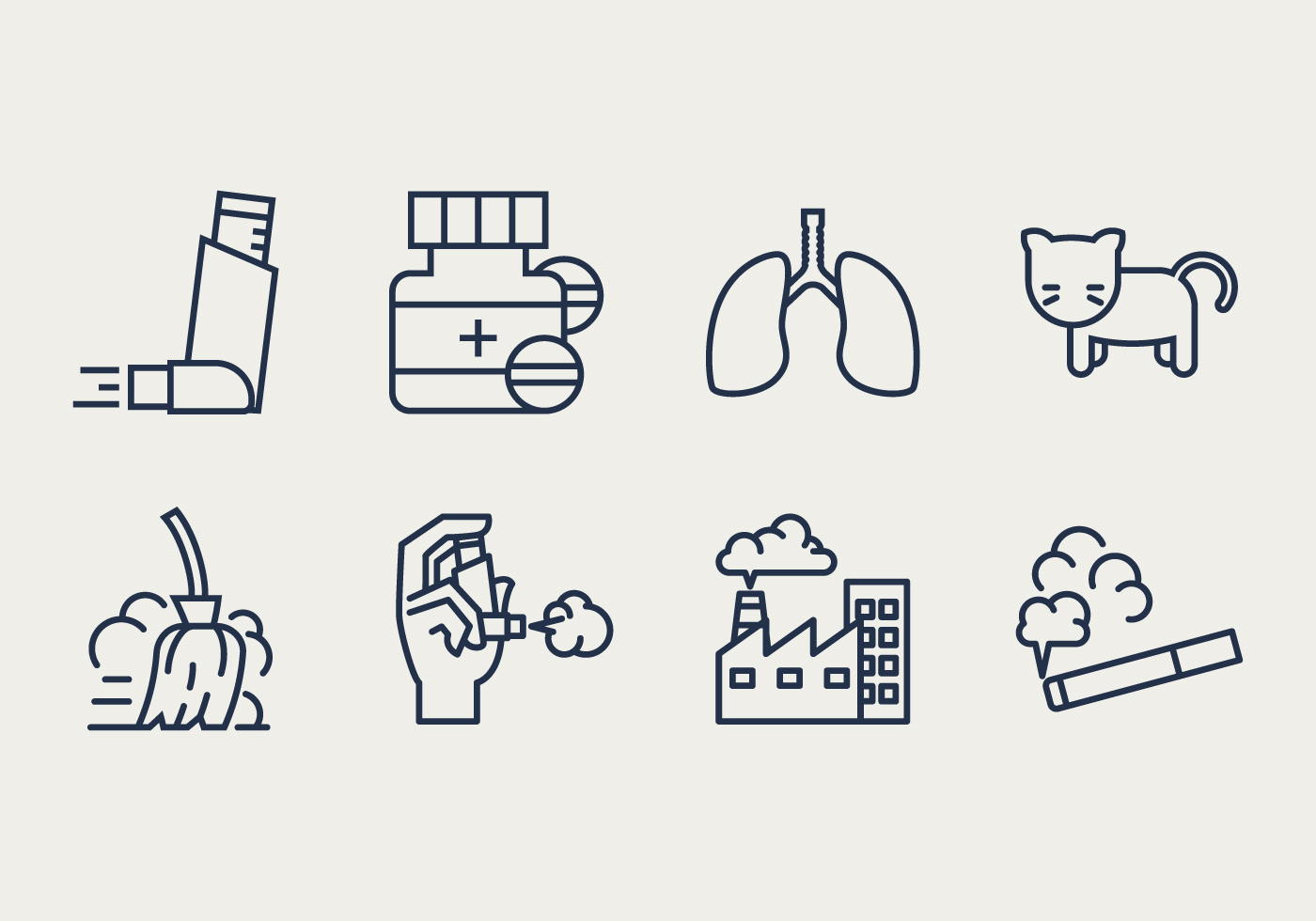 Asthma Symptoms and Causes Icons - Download Free Vector Art, Stock ...