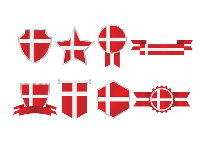 Free Danish Flag Badges Collection