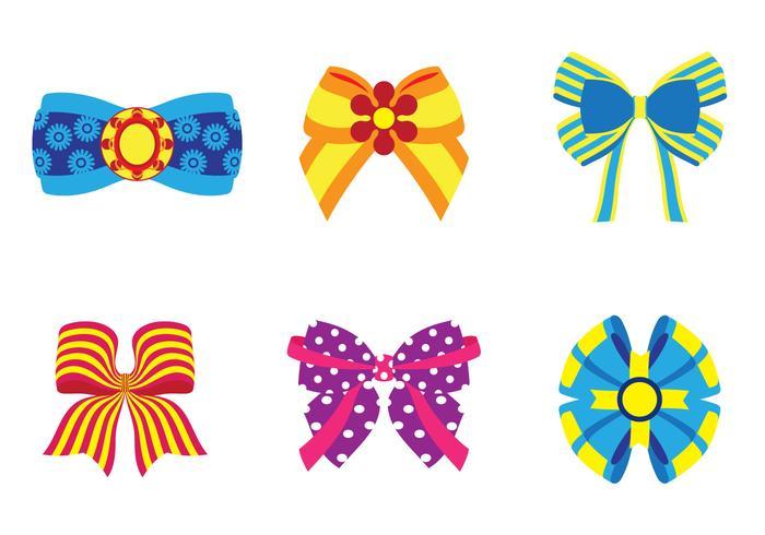 Six Bright Hair Ribbon Vectors