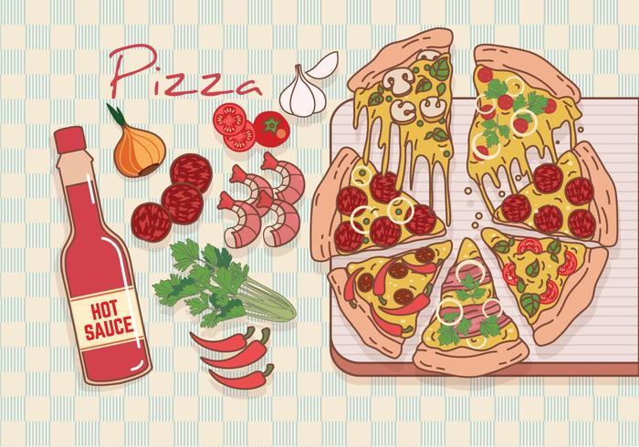 Vettore degli ingredienti della pizza