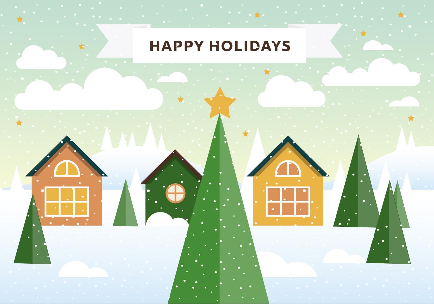 Landscape Illustration Vector Free: Free Vector Winter Landscape Illustration