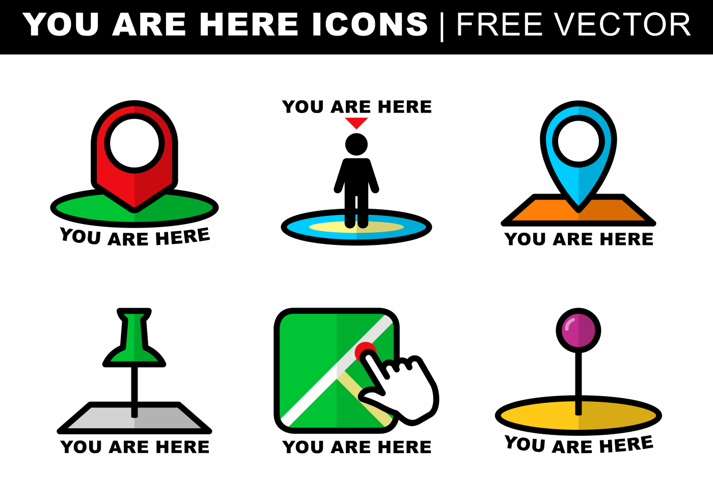 You Are Here Icons Free Vector - Download Free Vectors ...