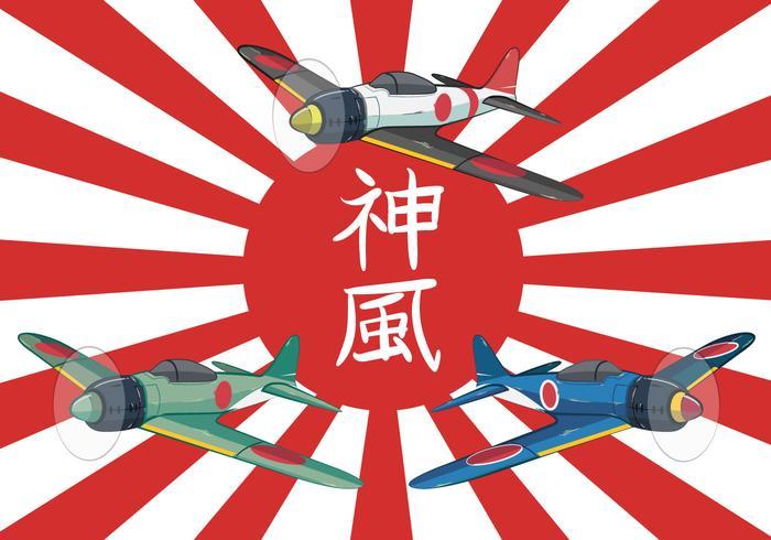 Kamikaze World War II Plane Vector Illustration