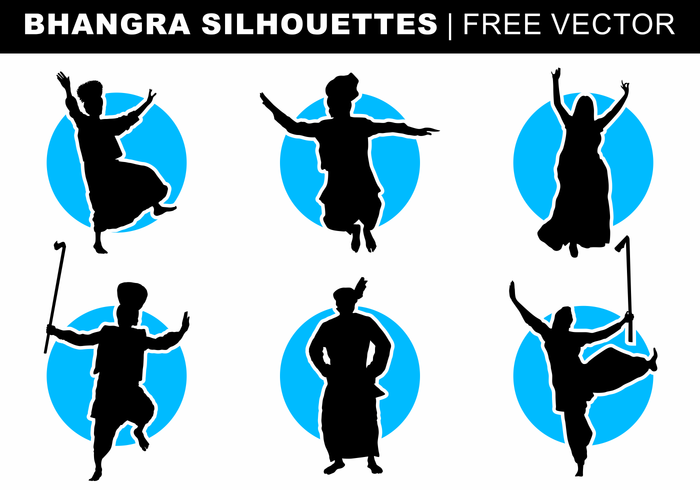 Bhangra Silhouettes Free Vector