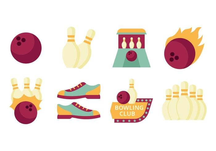 Gratis Flat Bowling Element Collection Vector