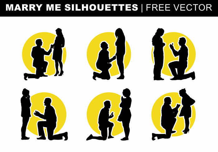 Marry Me Silhouettes Free Vector