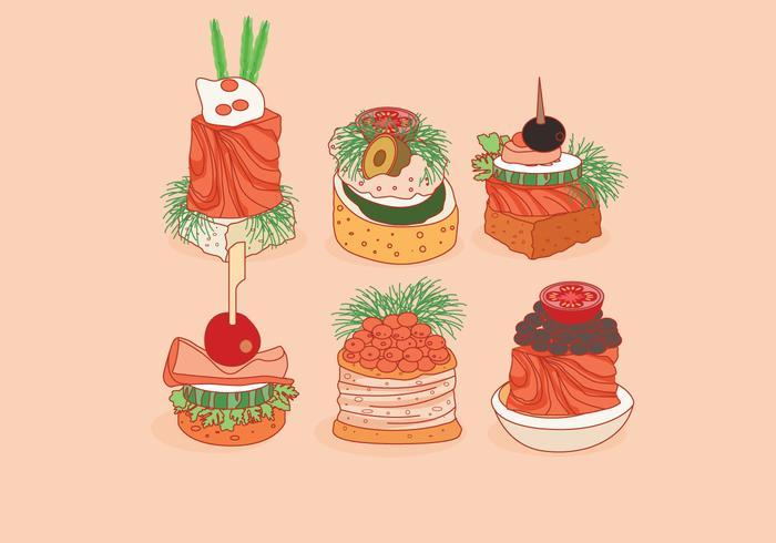 Deliciosos canapés vectorial