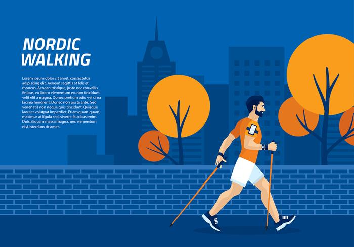 Nordic Walking Template Vector