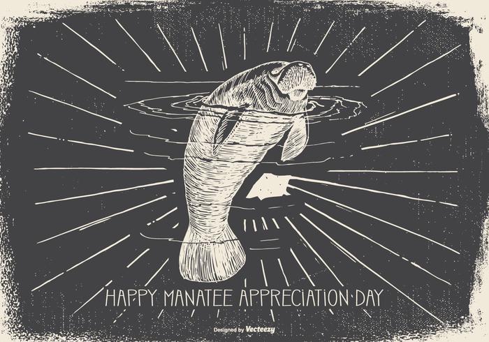 Vintage Manatee Appreciation Day Illustration