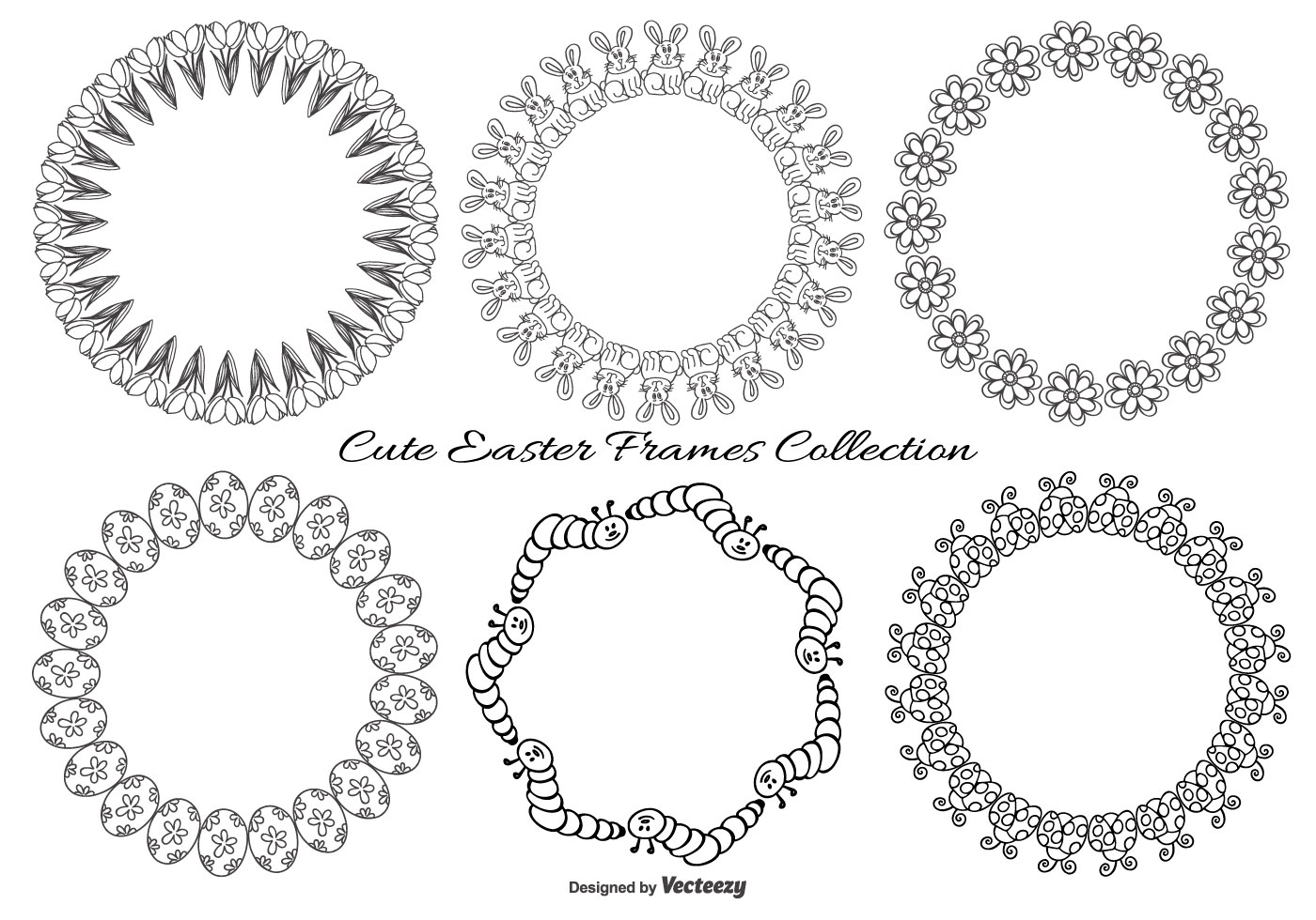 Cute Sketchy Easter Frames Collection - Download Free Vector Art ...