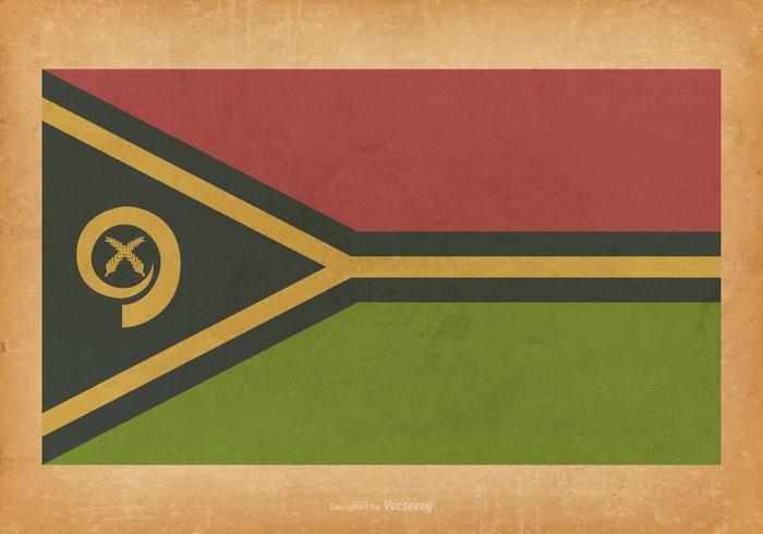 Vanuatu Flag on Grunge Background