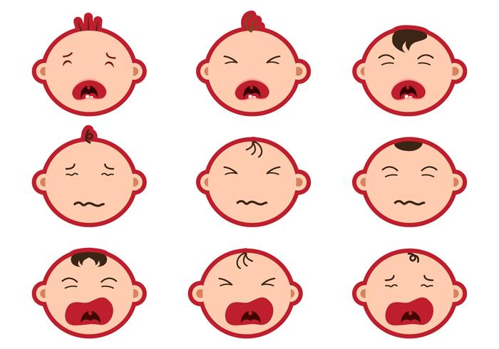 Crying Baby Face Sticker Vectors