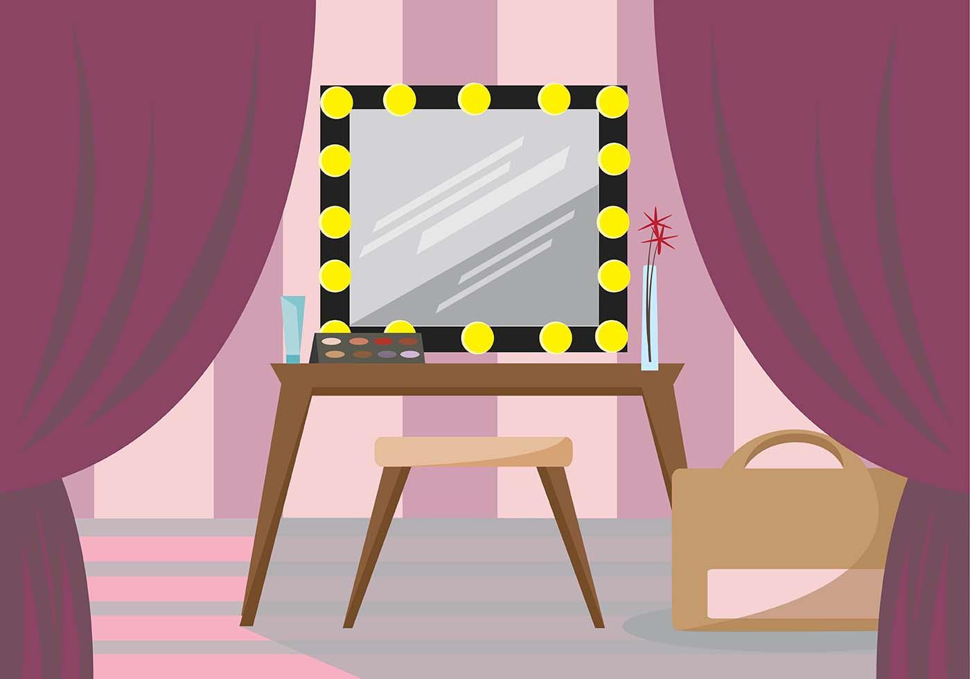 Cartoon Room: Feminine Dressing Room Vector Scene