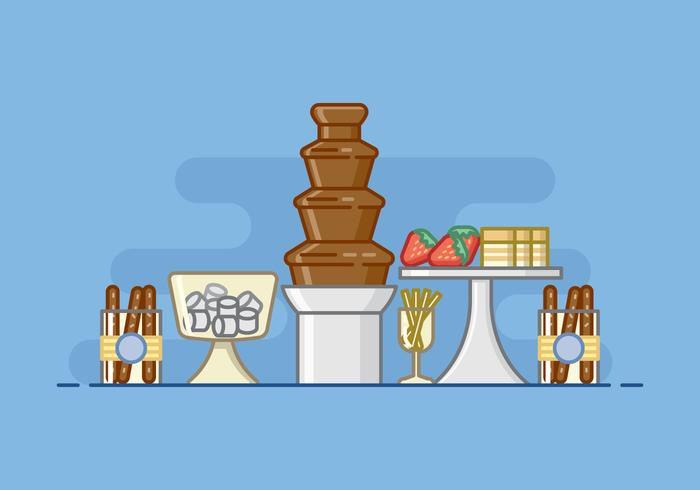 Baby Shower Chocolate Fountain Illustration