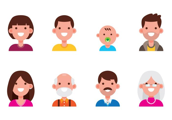 Set di avatar di famiglia vettore