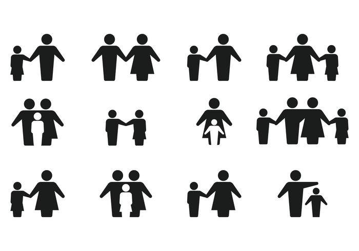 Simple Silhouette Family Icon Vectors