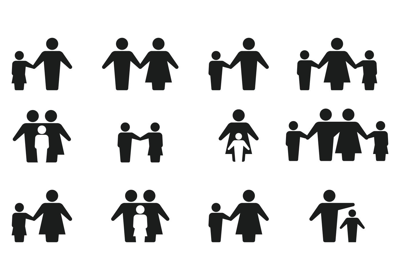 Simple De La Silueta Icono De La Familia Vectores