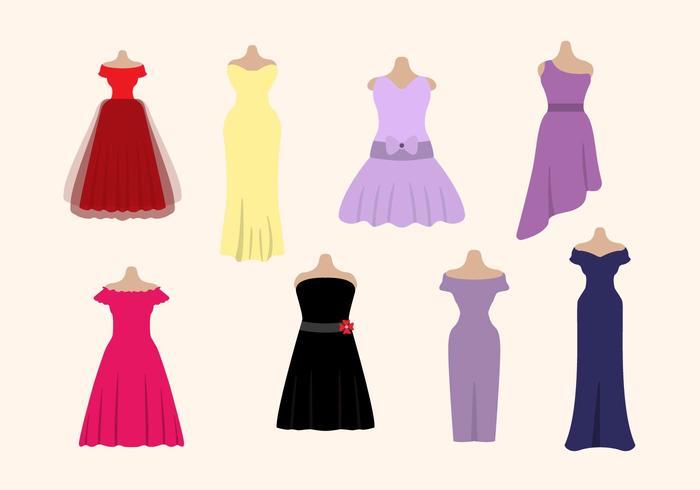 Flat Woman's Dress Vectors