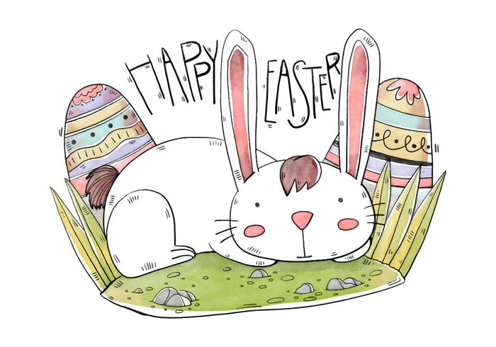 Cute Bunny With Eggs Easter Day Watercolor Style vector