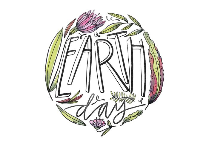 Cute Flowers With Lettering for Earth Day Vector