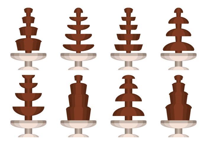Raccolta di vettore della fontana del cioccolato