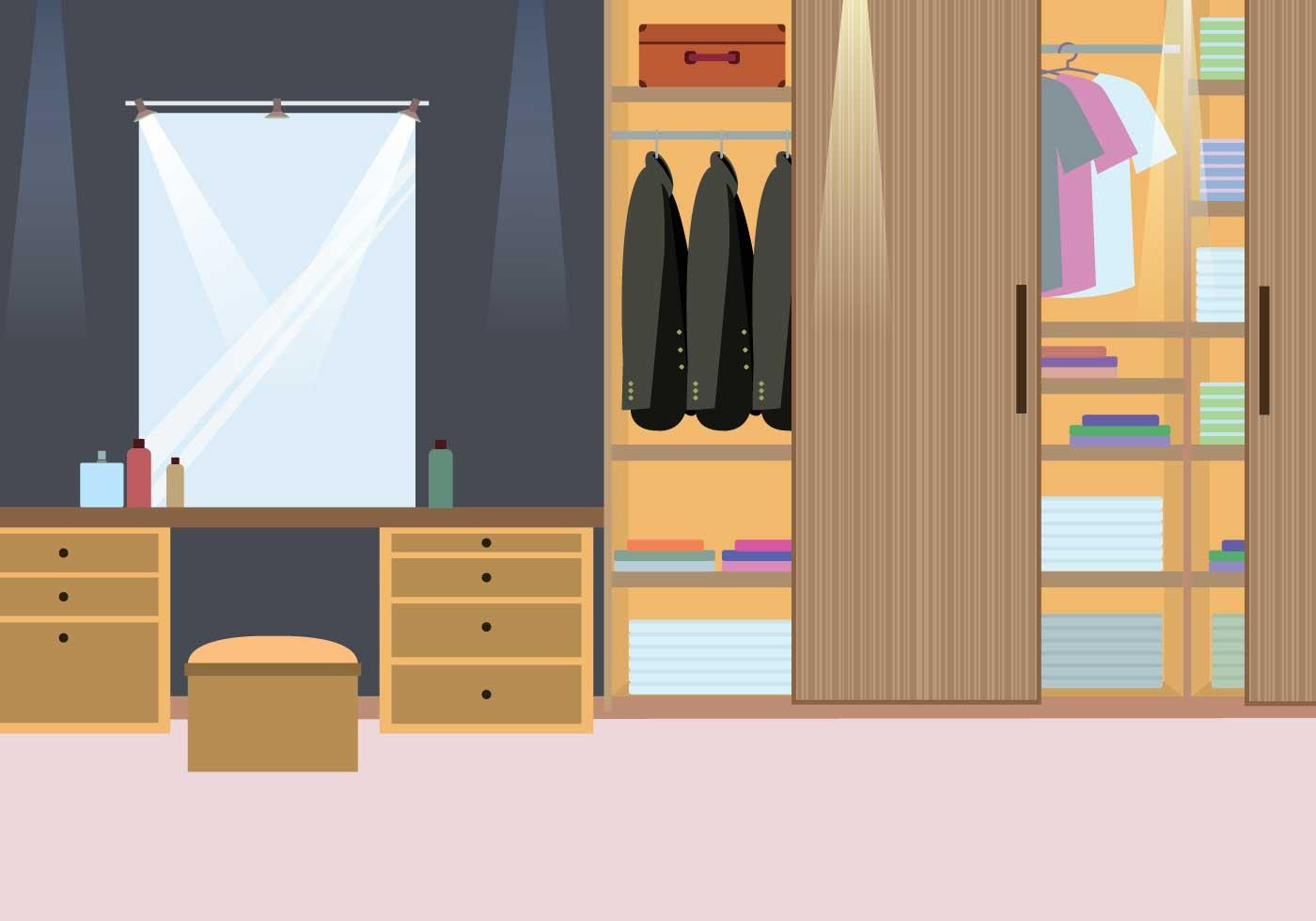 Wood Cabinet Dressing Room Illustration Download Free
