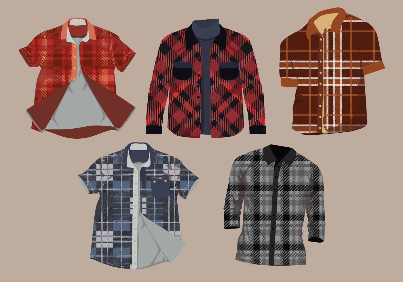 flannel pattern shirt vector pack download free vector