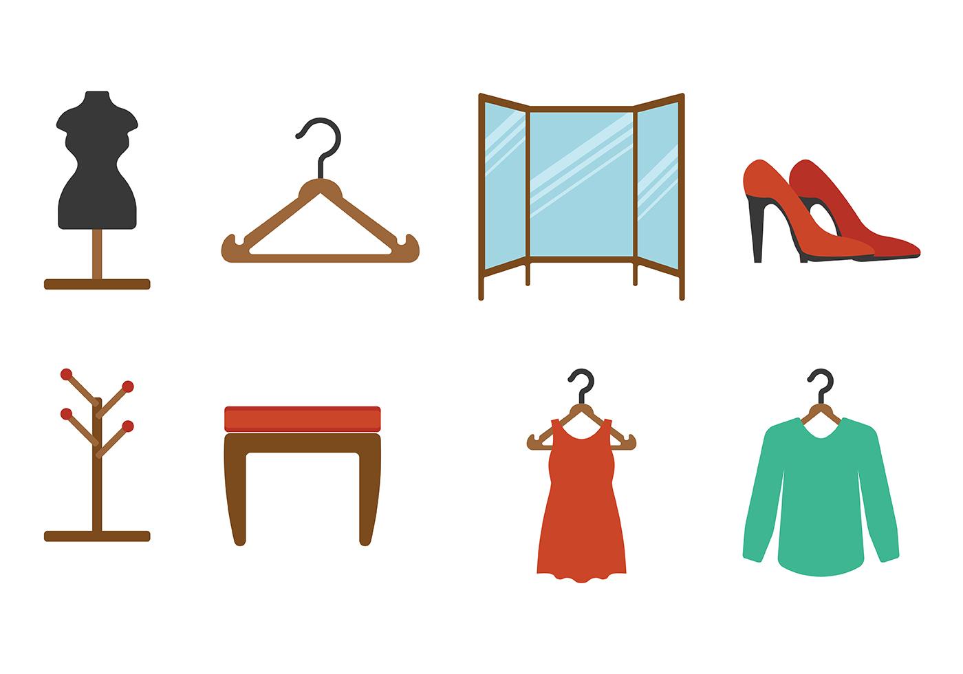 Dressing Room Flat Icon Vectors Download Free Vector Art