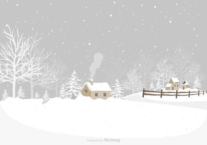 Winter Village Vector Background