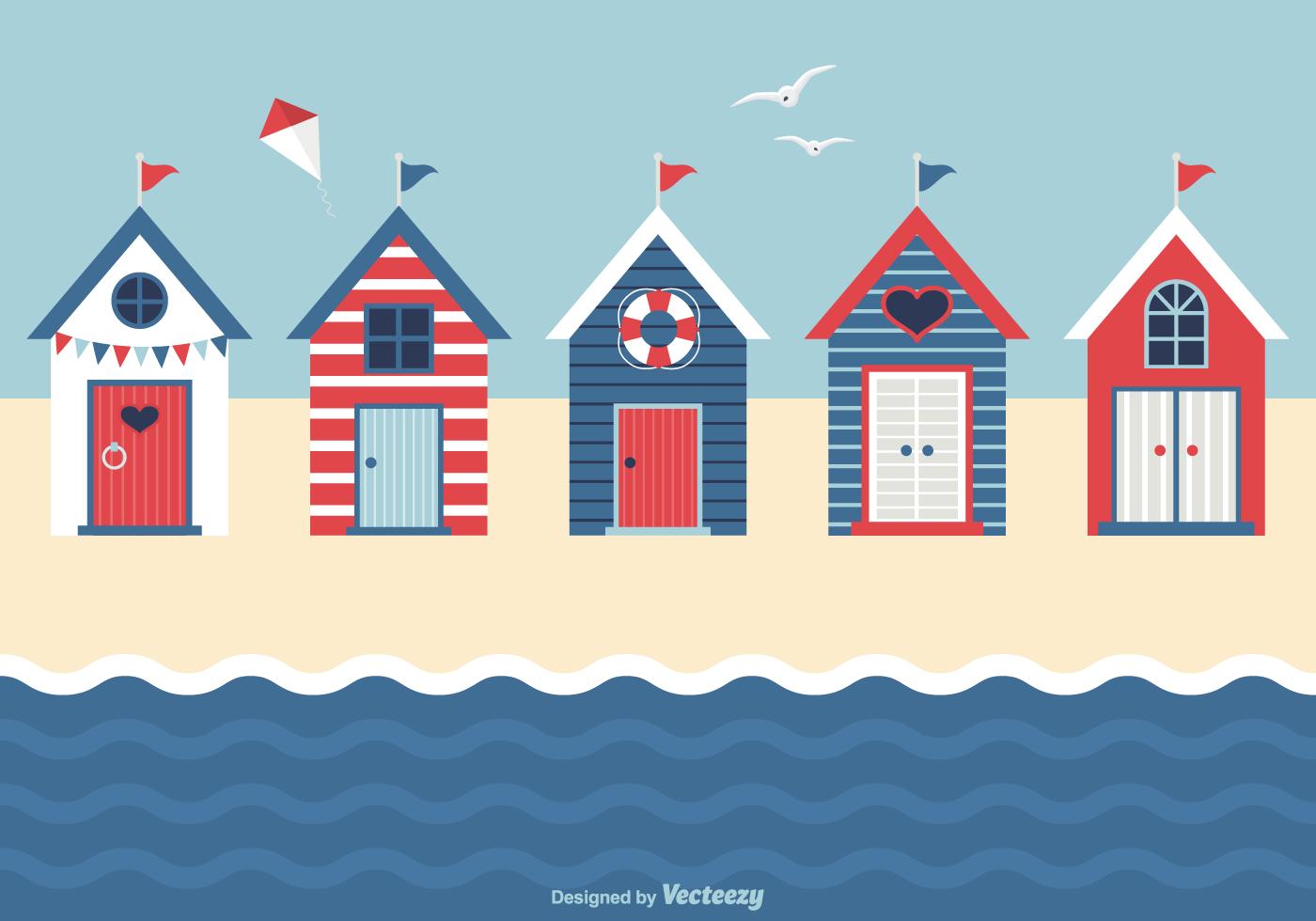 Nautical Beach Huts Vector