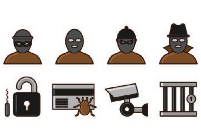 Set Of Theft Icon Vectors