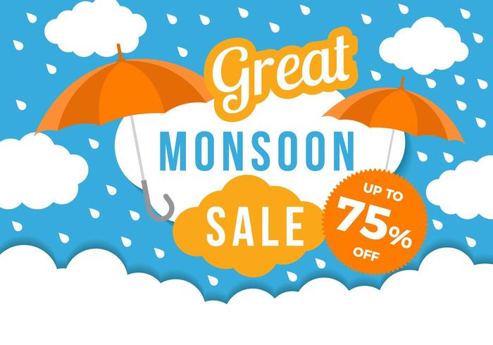 Free Monsoon Great Sale Poster Template Vector